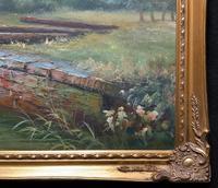 Superb Large Vintage Gilt-Framed Landscape Oil Painting of Barge on the Canal (11 of 13)
