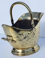 19th Century Embossed Brass Coal Scuttle (3 of 3)