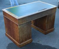 1920's Solid Light Oak Pedestal Desk with Green Leather Top. (5 of 5)