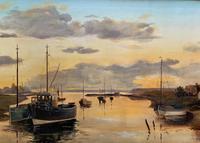 'the Estuary At Sundown' A Large Superb Original Vintage Seascape Oil Painting (6 of 12)