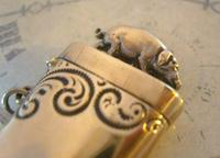 Antique Pocket Watch Chain Fob 1890s Victorian Large Brass Pig Vesta Case Fob (6 of 12)