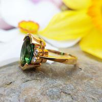 Vintage 18ct Gold Green Tourmaline & Diamond Dress Ring (11 of 13)