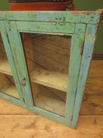 Antique Glazed Wooden Indian Wall Cabinet with Chippy Old Turquoise Paint (17 of 18)