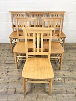 Set of Six Vintage Beech Chapel Chairs (6 of 19)