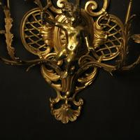 French Pair of Cherub Gilded Brass Wall Lights (8 of 10)