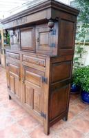 Country Oak Court Cupboard 1734 Carved Initials RTK (5 of 14)
