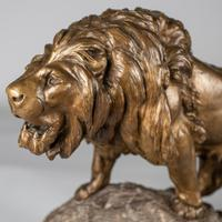 Stunning Large French Bronze Sculpture of Roaring Lion - Signed Le Courtier (10 of 10)