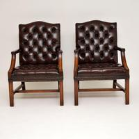 Pair of Antique  Deep  Buttoned Leather Library Armchairs (11 of 12)