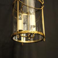 French Small Convex Gilded Triple Light Antique Lantern (4 of 10)