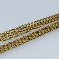 """Antique Victorian Long 18ct Rolled Gold Guard Muff Chain Necklace 54"""" Length (5 of 7)"""