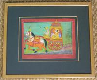 Charming 18th Century Indian Watercolour Prince in Carriage