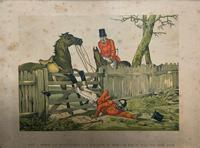 Set of Six 19thc Oak framed Humorous Coloured Sporting Hunting Engraving's (6 of 14)
