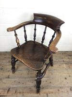 19th Century Ash and Elm Smoker's Bow Chair (M-1704) (9 of 15)