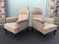 Pair of Antique English Upholstered Armchairs