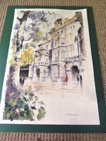 Massive Modern British Watercolour- Fred Marshally ? London Street Scene (3 of 7)