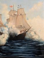 Large Fabulous Vintage 20th Century Maritime Naval Battle Ships Seascape Oil Painting (6 of 12)