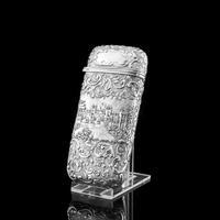 "Antique Solid Silver Victorian Cigar Cheroot Case ""Castle Top"" Windsor Castle Design - Nathaniel Mills 1844 (7 of 12)"