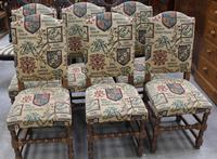 1940's Set 6 Oak High Back Dining chairs with Heraldic Upholstery (2 of 4)