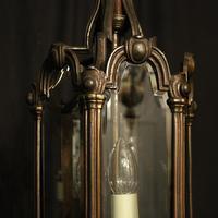 French Bronze Triple Light Antique Hall Lantern (8 of 10)