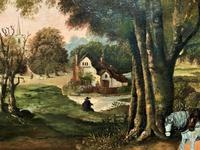 Huge Fabulous 19thc Continental Farming Country Landscape Oil Painting (13 of 19)