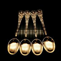 Antique Set of 4 Solid Silver Gilt Spoons with Highly Embossed Design - Henry William Curry 1871 (2 of 14)