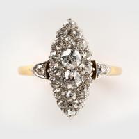 Antique Edwardian Marquise Shape 1.00 Carat Diamond Cluster Ring c.1901 (5 of 5)