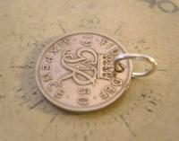 Vintage Pocket Watch Chain Fob 1950 Lucky Silver Sixpence Old 6d Coin Fob (3 of 8)
