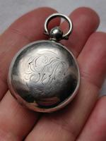 Antique Sterling Silver Pocket Sovereign Case with Fob Loop Monogrammed