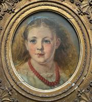Fine Original 19th Century Circular Oil Portrait Painting of a Child for Reframing/tlc (3 of 11)