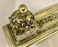 Victorian Brass Inkwell Desk Companion c.1875 (4 of 9)