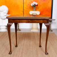 Writing Card Table Burl Walnut Circular Folding Desk (4 of 12)
