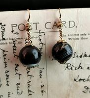 Antique Victorian Agate Drop Earrings, 9ct Gold (6 of 10)