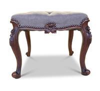 Walnut Upholstered Footstool (7 of 7)
