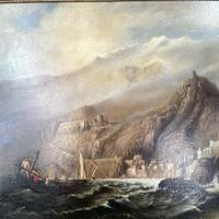 Antique Victorian Large Marine Seascape Oil Painting of Sailing Boats (5 of 10)