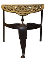 19th Century cast brass and wrought iron fireside trivet (3 of 5)