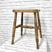 19th Century Kitchen Stool with Sycamore Seat