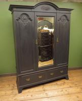 Antique Black Painted Mirrored Triple Wardrobe in 5 Parts, Gothic Shabby Chic (15 of 17)