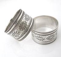 Great quality pair Edwardian silver napkin rings original box Robert Stebbings London 1906 (2 of 6)