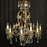 French Bronze & Crystal 12 Light Chandelier (3 of 10)