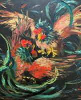 Stunning Original 1970s Vintage Abstract  Acrylic Painting Cocks Fighting - Game (6 of 15)