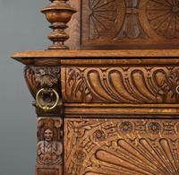 Carved Oak Leaded Glass Bookcase Cabinet (3 of 8)