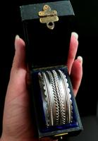 Antique Victorian Silver Bangle, Aesthetic Era, Boxed (17 of 17)