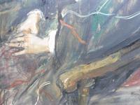Large Oil on Canvas Portrait of Carolyn Royal Academy Artist Margaret Milne 1970 (8 of 10)