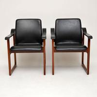 Pair of Vintage Danish Rosewood & Leather Armchairs (2 of 12)
