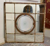 Large 19th Century Industrial Window Mirror with Central Leaded Bottle Glass Opening (2 of 8)