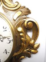 Impressive French Carved Cartel Wall Clock 8 Day Movement Scrolling leaf design 84cm High (13 of 13)