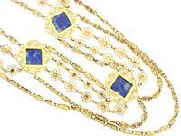 5.55ct Lapis Lazuli & 18ct Yellow Gold Necklace - Antique Victorian c.1870 (7 of 12)