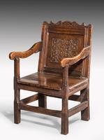 Charles II Style Oak Panelled Armchair (5 of 5)