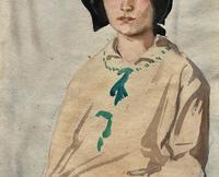 Original Antique Watercolour Portrait Painting of a Girl Guide c.1919 (6 of 9)