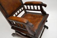 Antique Victorian Leather Rocking Chair (6 of 9)